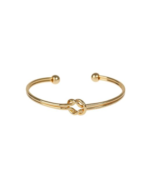Mikey - Metallic Centre Knot Twin Wire Cuff Bracelet - Lyst
