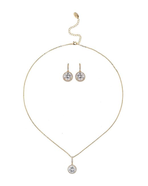 Mikey - White Oval Cubic Stone Earring Necklace Set - Lyst