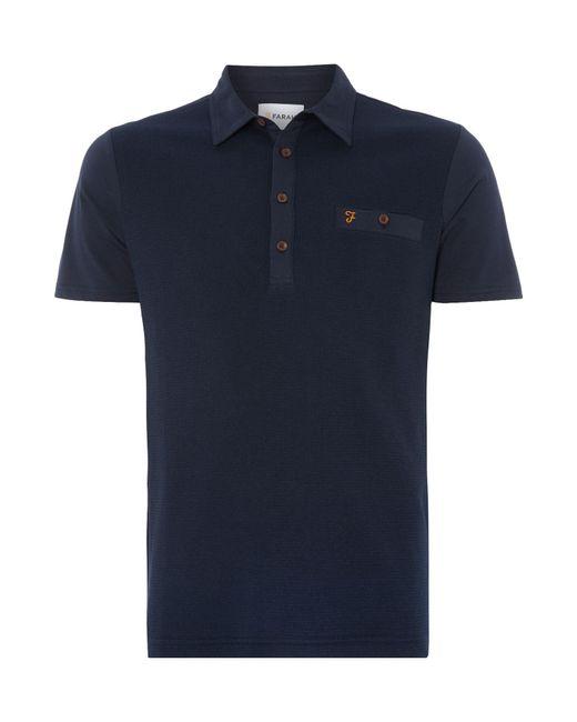 Farah - Blue Lester Regular Fit Textured Front Polo Shirt for Men - Lyst