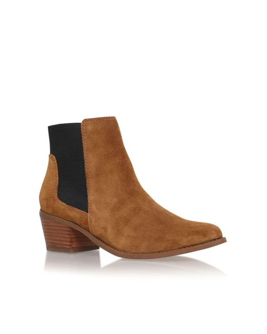 Miss Kg - Brown Sassy Low Block Heel Fringed Ankle Boots - Lyst