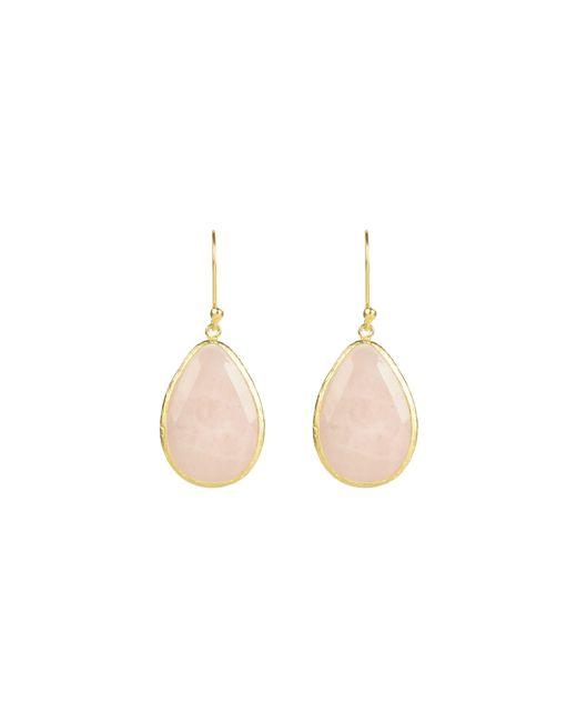 Latelita London - Pink Drop Earring Gold Rose Quartz - Lyst
