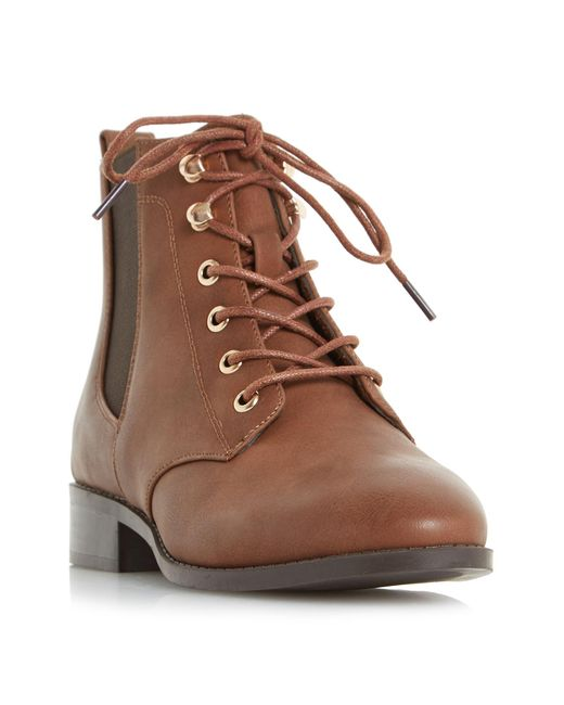 Dune - Brown Peggie Lace Up Chelsea Ankle Boots - Lyst