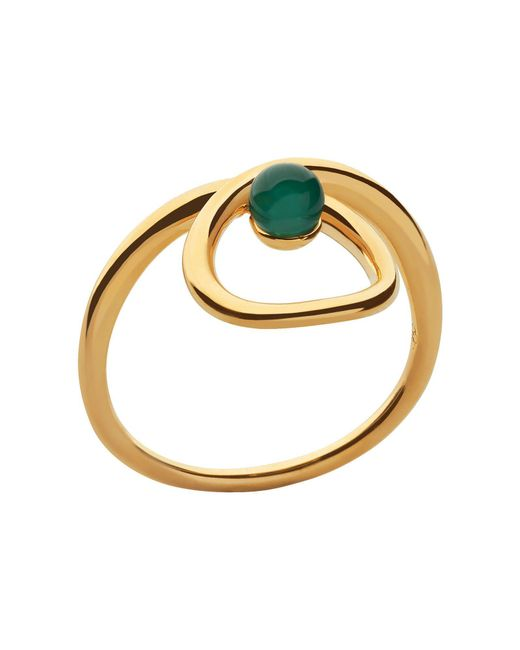 Links of London - Metallic Serpentine Gold & Green Chalcedony Ring - Lyst
