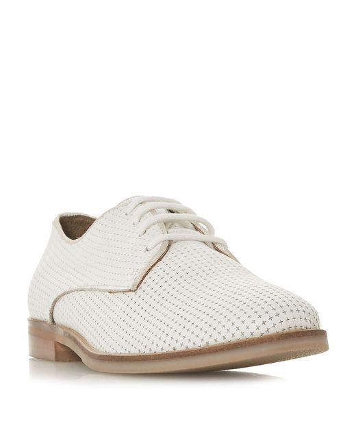 Dune - White Fexton Unlined Lace Up Flat Trainers - Lyst