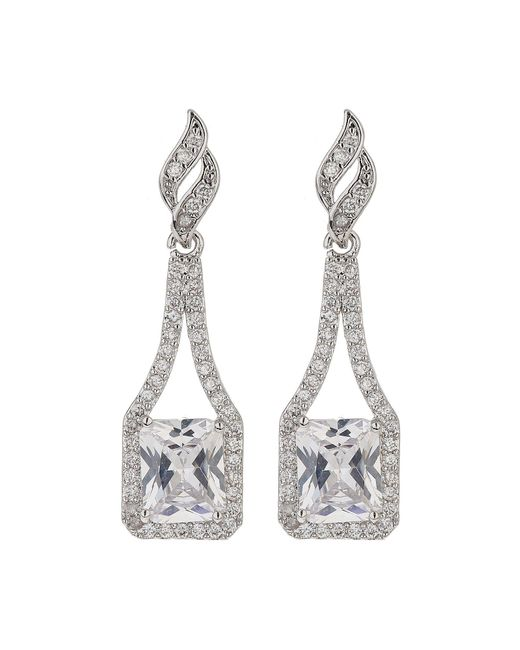 Mikey | White Edge Link Cubic Centre Drop Earring | Lyst