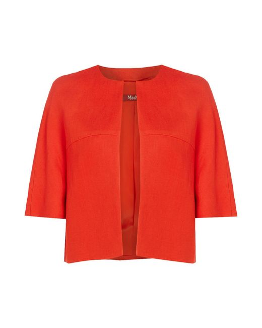 Max Mara Studio   Red Oxalis Shortsleeve Linen Bolero Jacket   Lyst