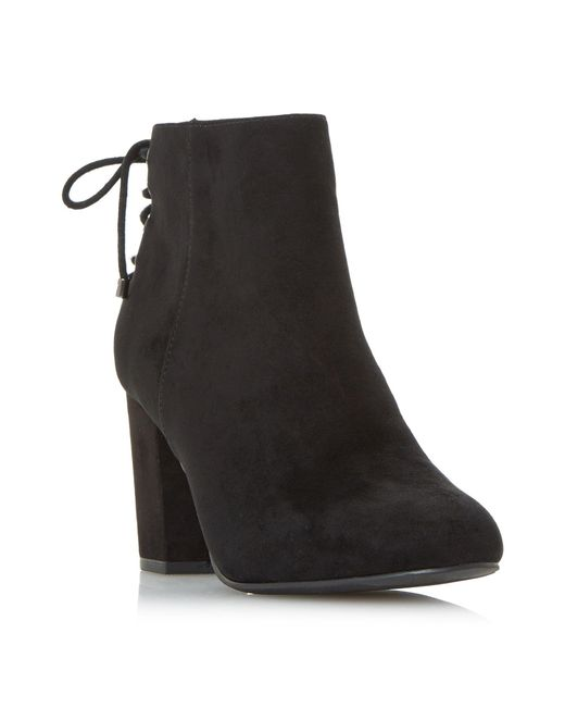 Dune | Black Olli Back Laced Block Heel Ankle Boots | Lyst