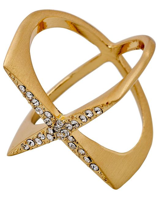 Pilgrim - Metallic Gold Plated Crystal Cris-crossing Ring - Lyst