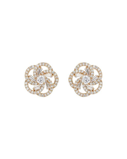 Mikey - Metallic Spiral Design Baugette Cubic Earring - Lyst