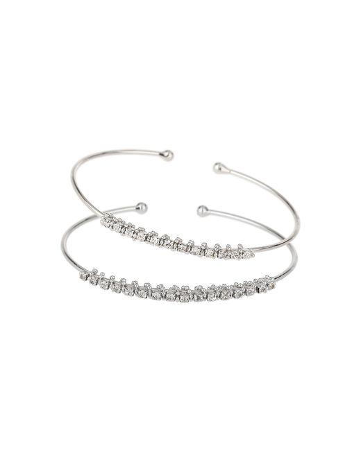 Mikey | White Twin Crystal Chain Plain Cuff Bangle | Lyst
