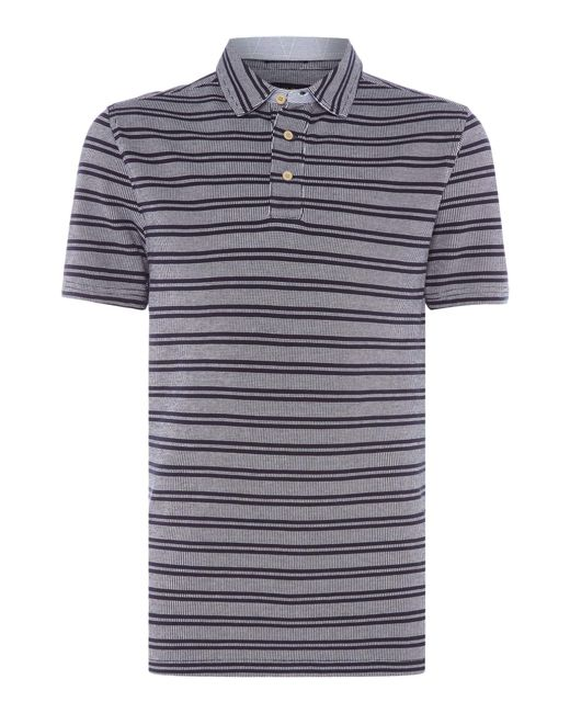 Howick | Blue Monroe Textured Stripe Short Sleeve Polo for Men | Lyst