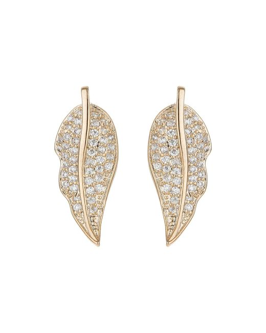 Mikey - Metallic Leaf Design Mini Cubic Earring - Lyst