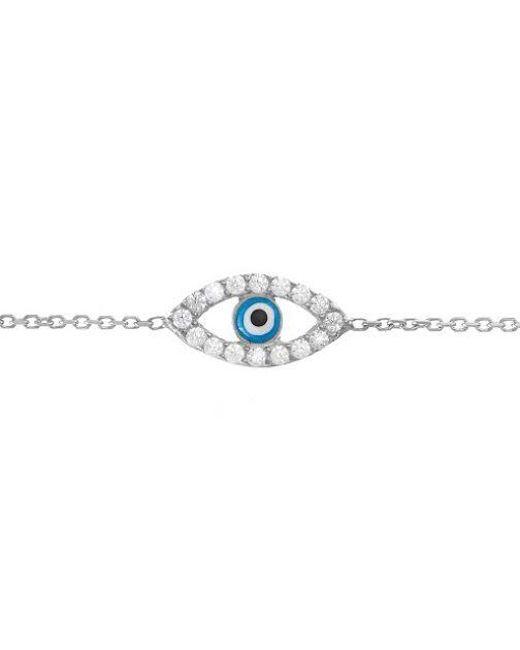 Lucky Eyes | White Gold Vermeil Evil Eye Bracelet | Lyst
