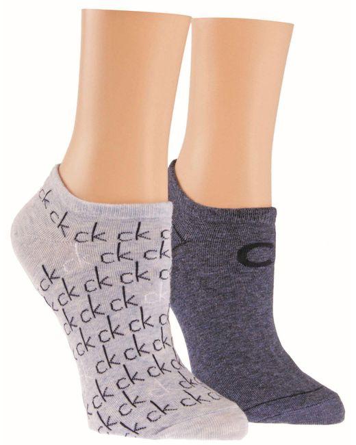 CALVIN KLEIN 205W39NYC - Blue Repeat Logo 2 Pair Pack Trainer Socks - Lyst