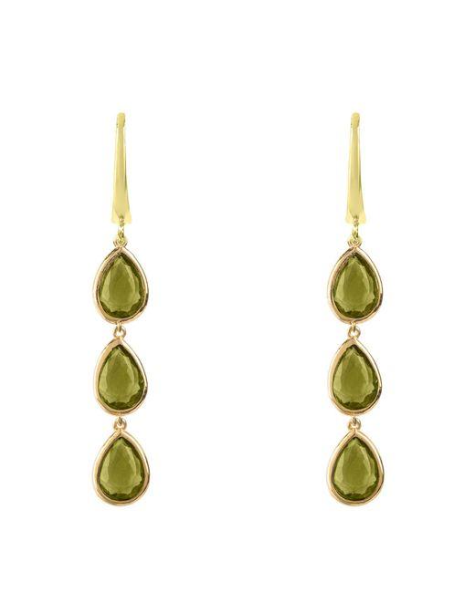 Latelita London - Green Triple Drop Earring Gold Peridot - Lyst