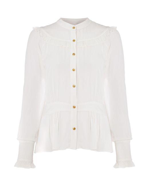 Biba | White Tie Waist Button Through Blouse | Lyst