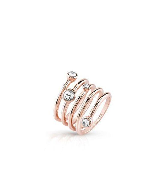 Guess - Metallic Crystal Beauty Ring - Lyst