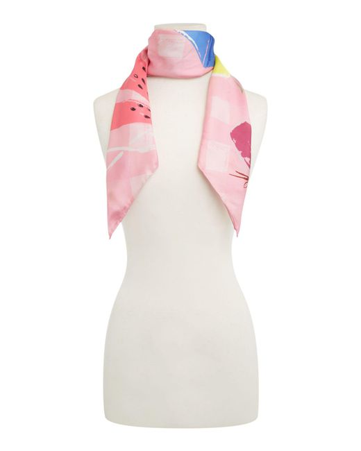 Kate Spade - Pink Picnic Silk Square Scarf - Lyst