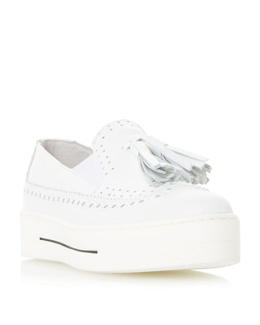 Dune Black | White Elana Brogue And Tassel Detail Flatform Trainer | Lyst