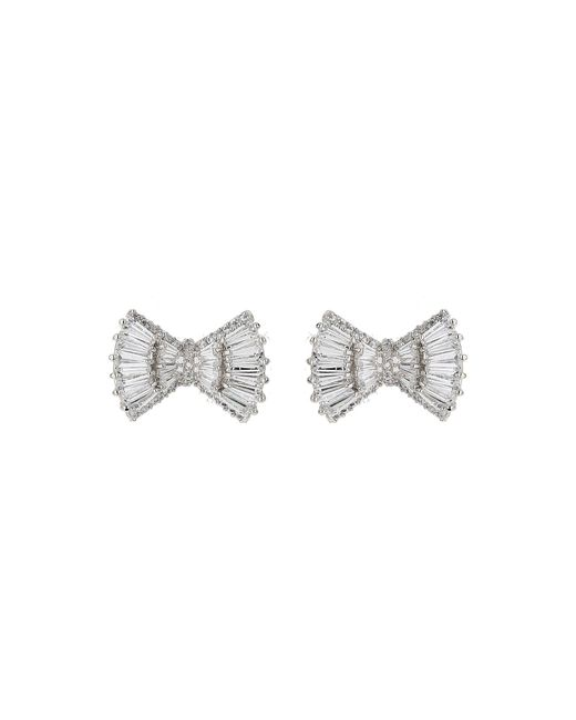 Mikey - Metallic Baugette Cubic Wide Bow Stud Earring - Lyst