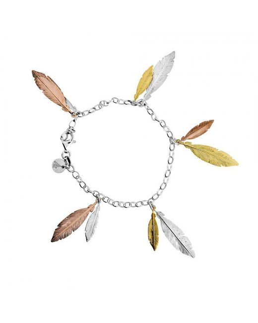 Azendi - Metallic Multi Feather Bracelet - Lyst