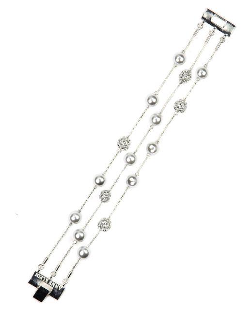 Anne Klein | White Imitation Rhodium Flex Bracelet | Lyst
