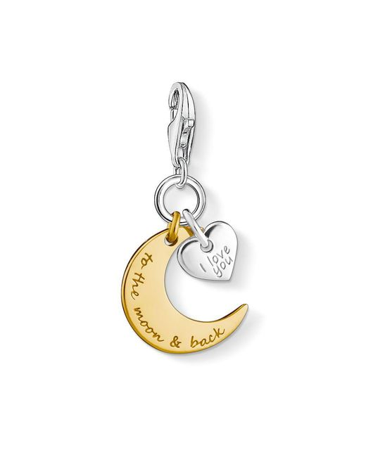 Thomas Sabo - Metallic Charm Club Moon And Heart Charm - Lyst