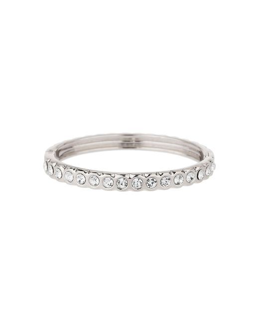 Mikey   White Round Crystals Linked Cuff Bracelet   Lyst