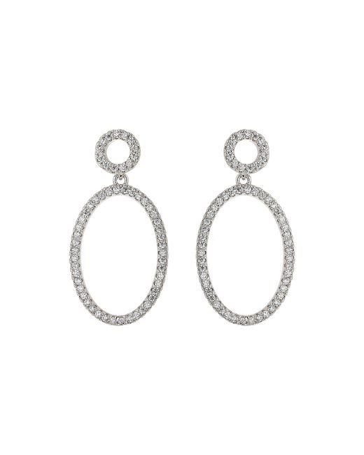 Mikey | Metallic Oval Circle Cubic Twin Hoop Earring | Lyst