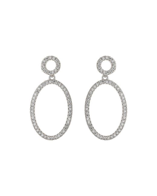 Mikey - Metallic Oval Circle Cubic Twin Hoop Earring - Lyst