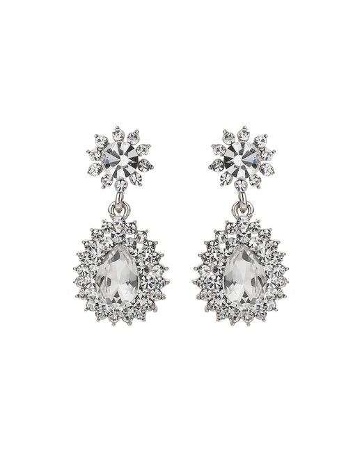 Mikey | White Oval Stone Studded Spike Edged Earring | Lyst