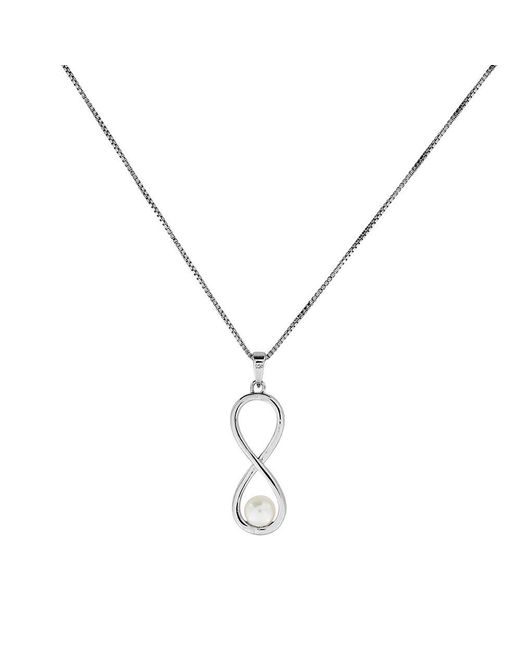 Azendi | Metallic Silver & Pearl Infinity Pendant | Lyst