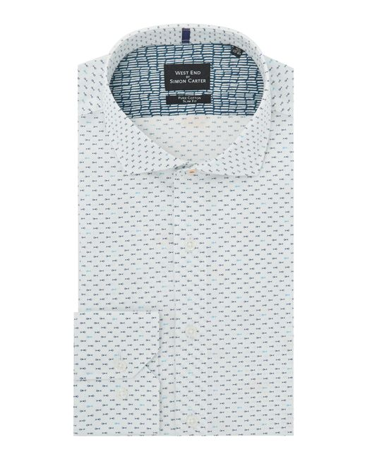 Simon Carter - Blue Men's Mini Fish Print Shirt for Men - Lyst