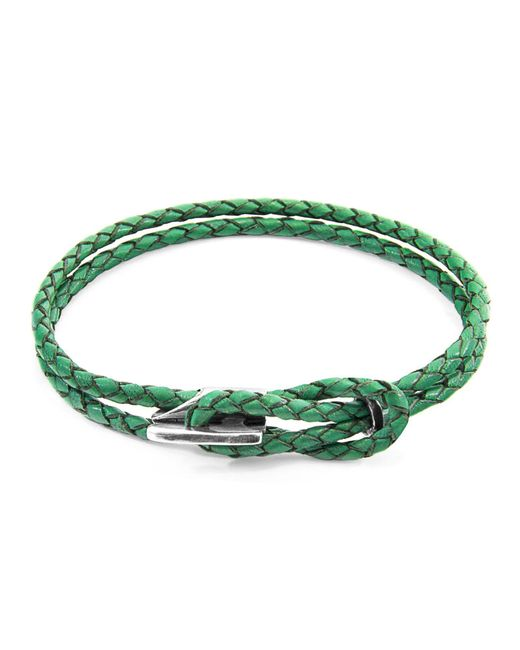 Anchor & Crew | Green Padstow Silver And Leather Bracelet | Lyst