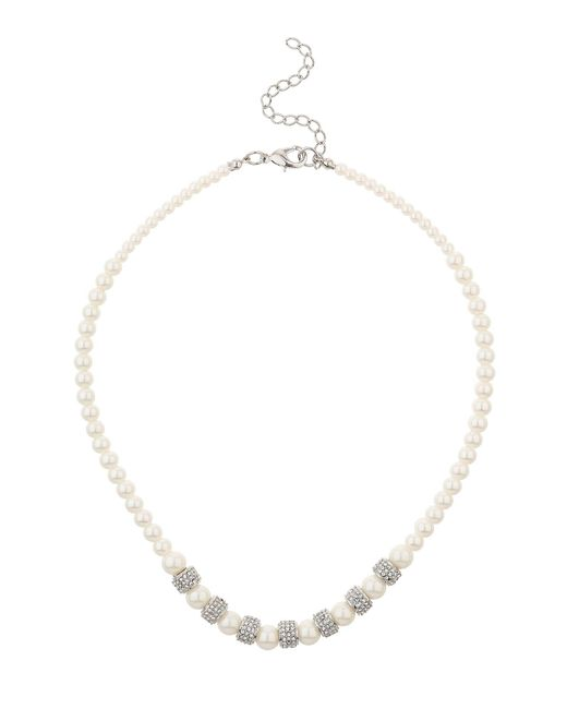 Mikey | White Multi Crystal Tunnel Ring Pearl Necklace | Lyst