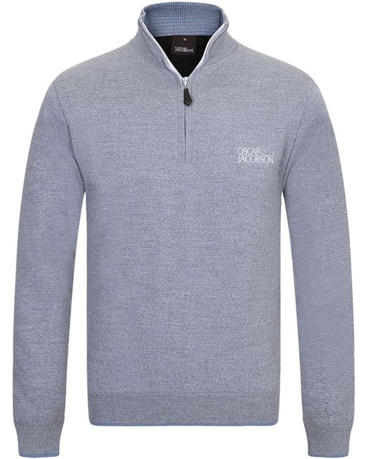 Oscar Jacobson | Gray Brett Tour Lined Half Zip Jumper for Men | Lyst