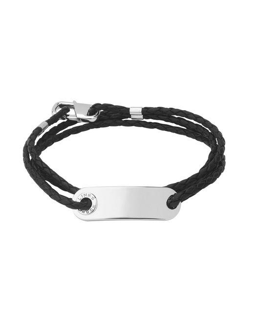 Links of London - Black Men`s Soho Id Bracelet With Leather Cord - Lyst