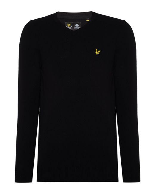 Lyle & Scott | Black V-neck Long Sleeve Jumper for Men | Lyst