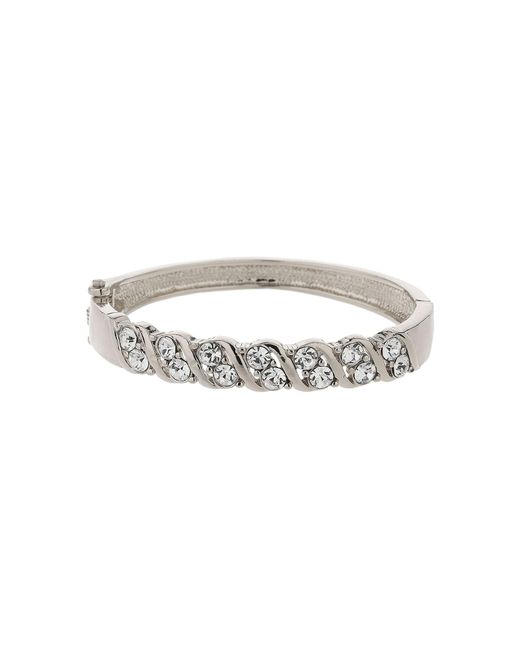 Mikey - Metallic Zig Zag Design Crystal Cuff Bracelet - Lyst