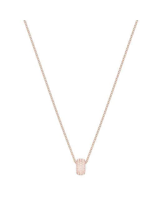 Swarovski - Pink Stone Round Pendant - Lyst