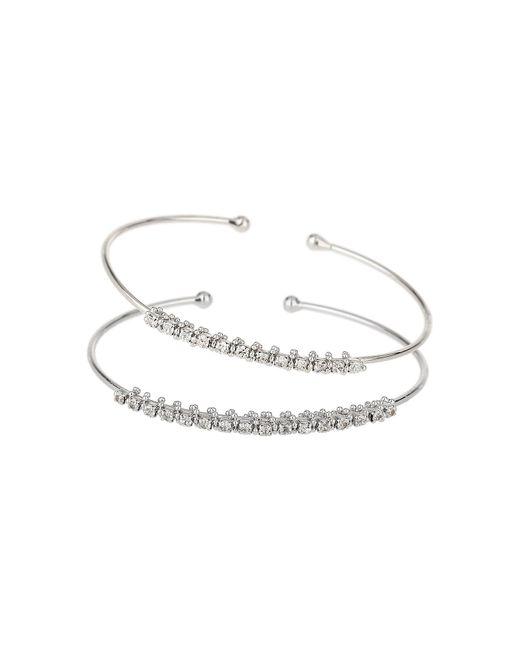 Mikey - White Twin Crystal Chain Plain Cuff Bangle - Lyst