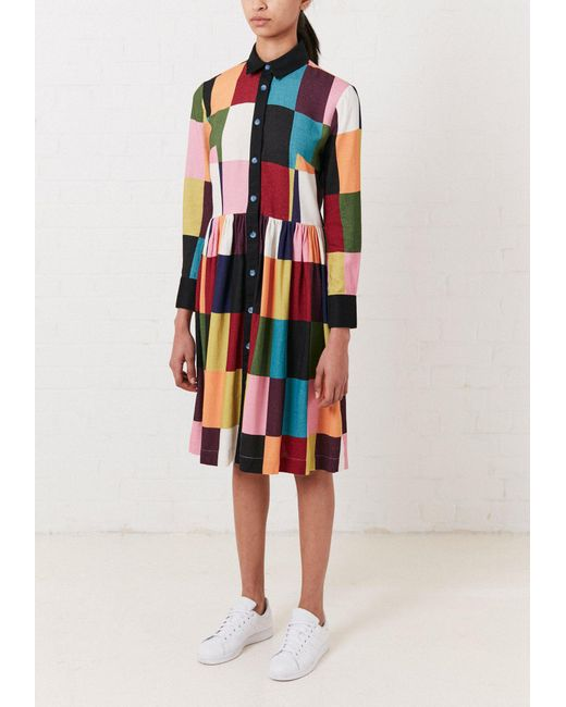 House of Holland - Multicolor Printed Patchwork Long Sleeve Midi Dress - Lyst