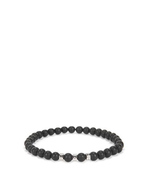 BOSS | Black Agate-stone Bracelet With Metal Logo Beads for Men | Lyst