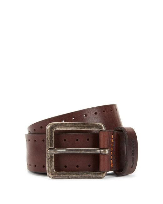 BOSS Orange | Brown Leather Belt With Brogue Detailing for Men | Lyst
