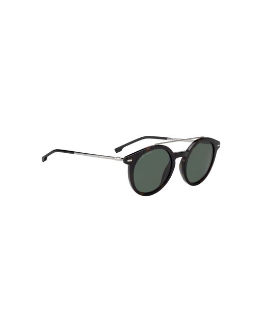 BOSS Brown Round-framed Sunglasses In Metal And Acetate for men