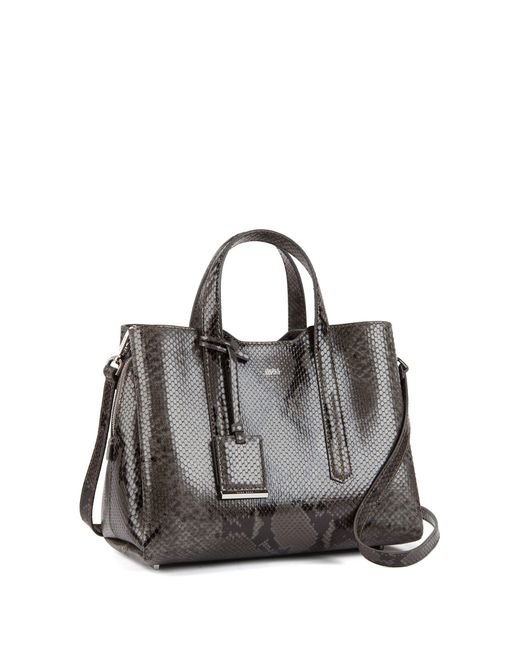 fc8373481d ... BOSS - Gray Tote Bag In Python-print Italian Calf Leather - Lyst ...