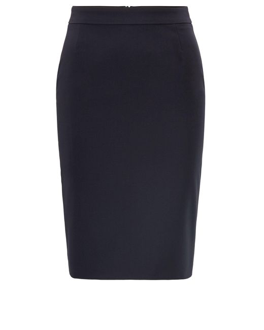BOSS Blue Stretch Wool Slim-fit Pencil Skirt