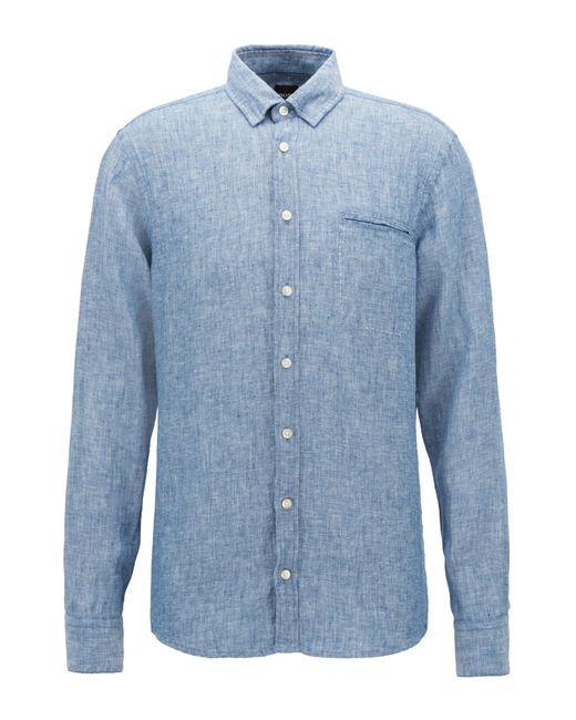 BOSS - Blue Regular-fit Shirt In Yarn-dyed Linen Chambray for Men - Lyst
