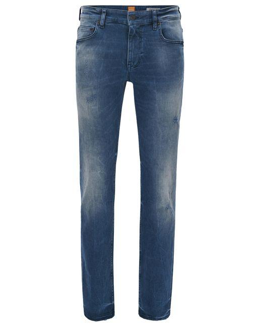 BOSS Orange | Blue Slim-fit Jeans In Distressed Indigo Stretch Denim for Men | Lyst