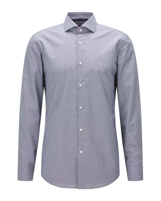 HUGO   Blue Slim-fit Shirt In Micro-check Cotton for Men   Lyst